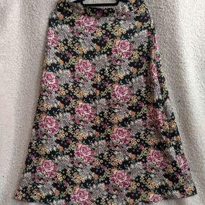 Narrow A-Line Floral Maxi Skirt
